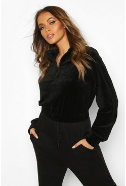 Premium Velour Cropped Zip Sweater, Black, Femme