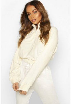 Premium Velour Cropped Zip Sweater, Cream, Donna