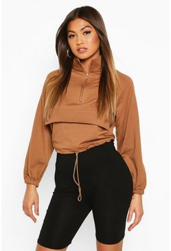 Womens Chocolate Cropped Zip Front Pocket Sweat Top