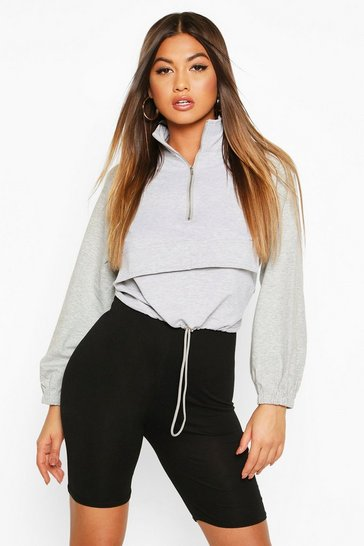 Grey Cropped Zip Front Pocket Sweat Top