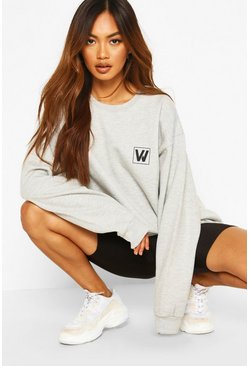 Woman Logo Oversized Sweat, Grey marl