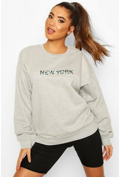 Grey marl New York Woman Oversized Sweat