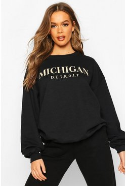 Michigan Slogan Oversized Sweat, Black, Donna