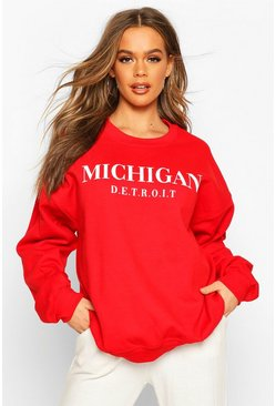 Red Michigan Slogan Oversized Sweat