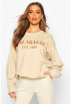 Womens Ecru Calabasas Slogan Oversized Sweat
