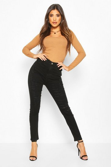 Womens Black High Rise Distressed Skinny Jean