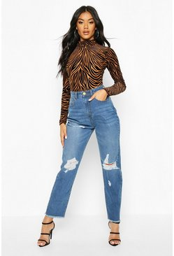 Mid blue High Rise Distressed Frayed Hem Mom Jean