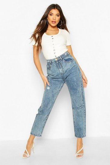 Vintage blue High Rise Distressed Mom Jean