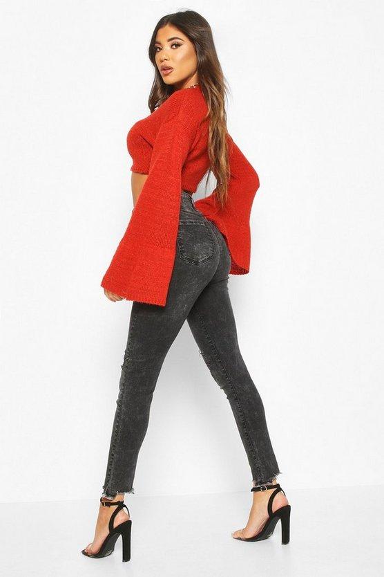 High Rise Distressed Frayed Hem Skinny Jean