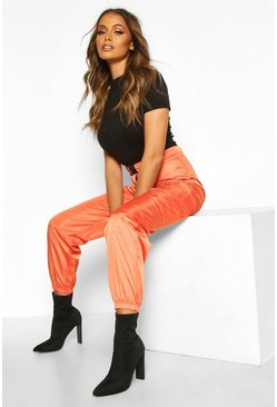 Womens Orange Belted Pocket Detail Shell Jogger