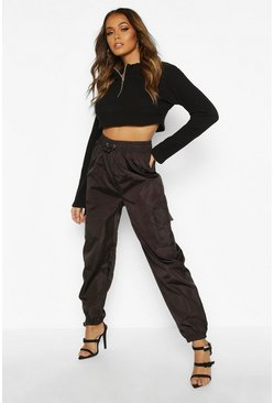 Womens Black Pocket Detail Shell Jogger