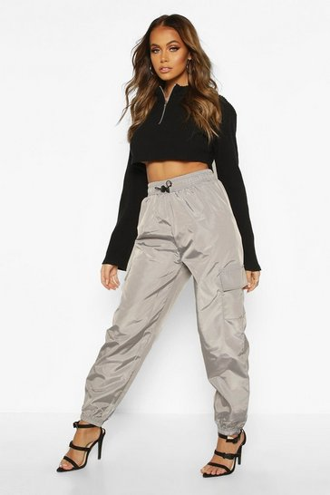 Womens Silver Pocket Detail Shell Jogger