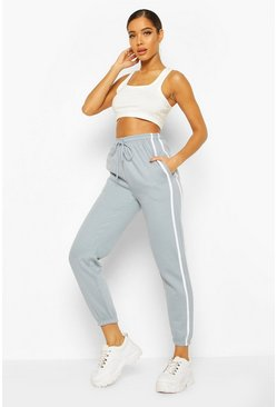Womens Slate blue Oversized Stripe Detail Jogger
