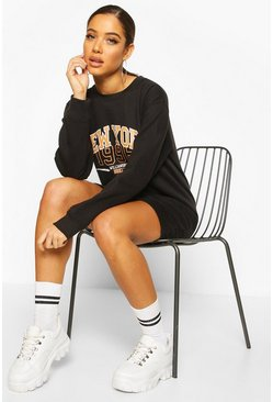 Black New York Oversized Sweat Dress