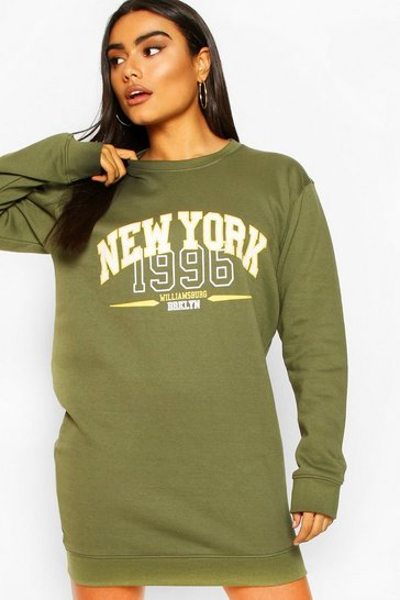 Khaki New York Oversized Sweat Dress