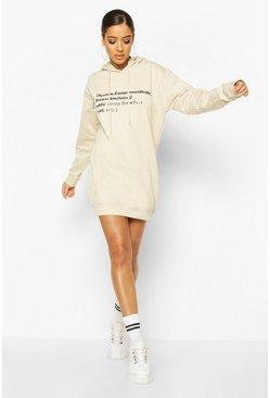 Woman Sleeve Print Graphic Hoodie Dress, Sand