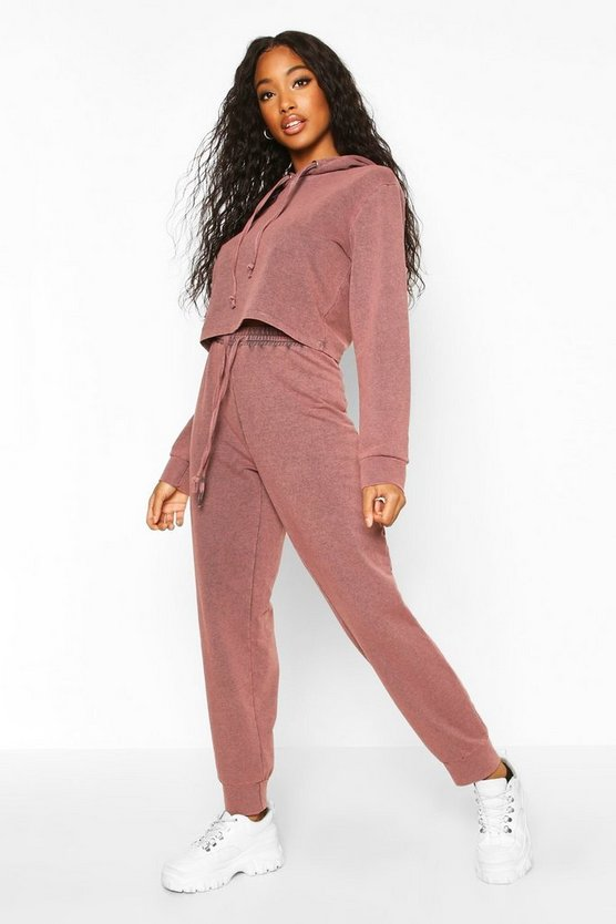 Womens Mauve Acid Wash Crop Hoodie Tracksuit