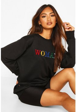 Womens Black Woman Rainbow Embroidered Oversized Sweat