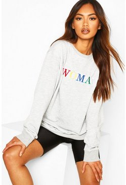 Grey marl Woman Rainbow Embroidered Oversized Sweat