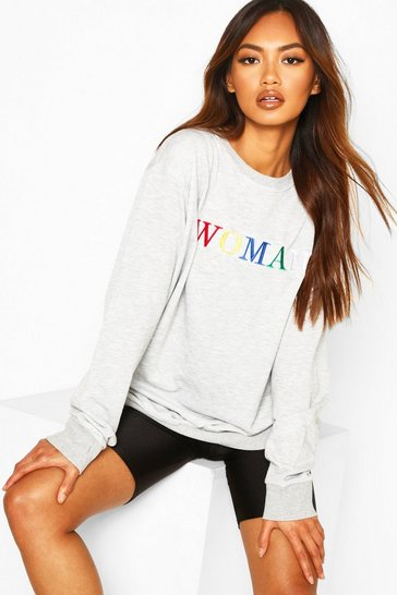 Womens Grey marl Woman Rainbow Embroidered Oversized Sweat
