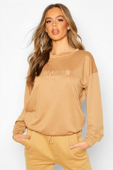 Womens Camel Woman Embroidered Oversized Sweater