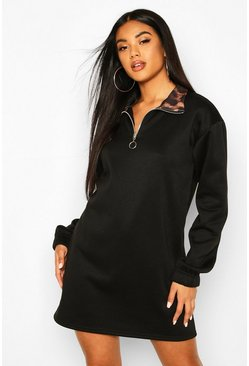 Womens Black Leopard Funnel Neck Sweat Dress