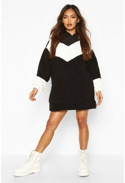 Womens Black Borg Chevron Hooded Sweatshirt Dress
