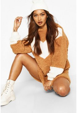 Camel Borg Chevron Hooded Sweatshirt Dress