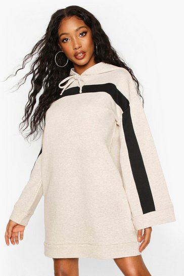 Oatmeal Contrast Stripe Hooded Flare Sleeve Sweatshirt Dress