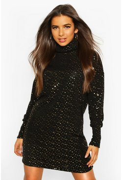 Womens Black Roll Neck Balloon Sleeve Foil Spot Sweatshirt Dress
