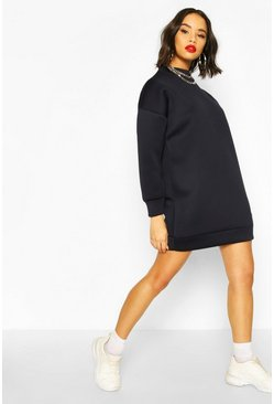 Navy Scuba High Neck Balloon Sleeve Sweatshirt Dress
