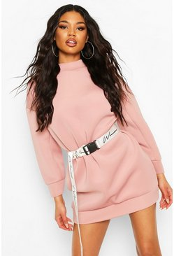 Scuba High Neck Balloon Sleeve Sweatshirt Dress, Rose