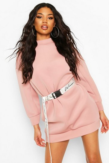 Rose Scuba High Neck Balloon Sleeve Sweatshirt Dress