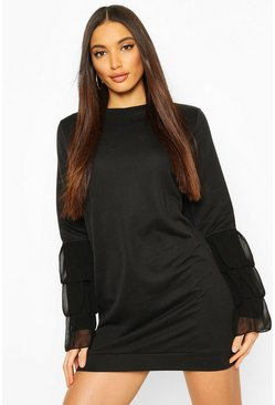 Ruffle Sleeve Sweatshirt Dress, Black, Donna