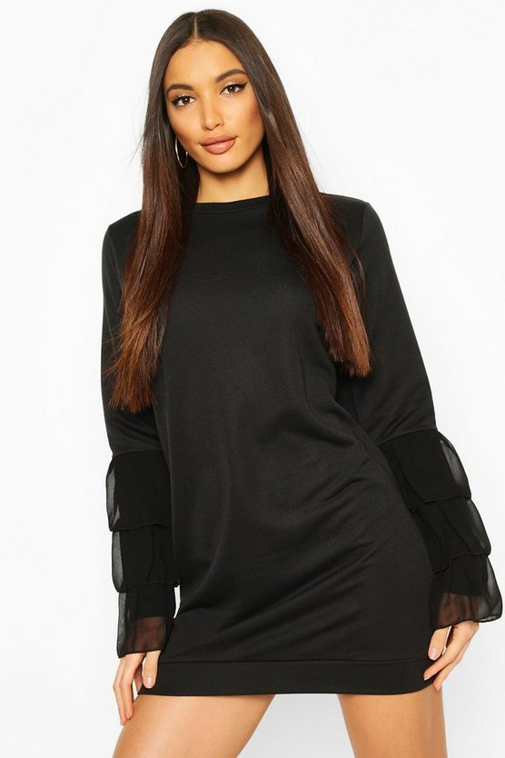 Ruffle Sleeve Sweatshirt Dress