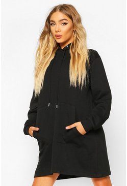 Pocket Sleeve Hooded Sweatshirt Dress, Black