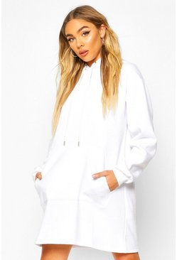 White Pocket Sleeve Hooded Sweatshirt Dress