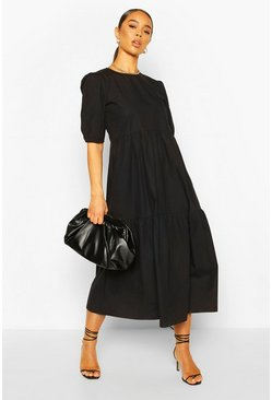 Black Cotton Tiered Midi Smock Dress