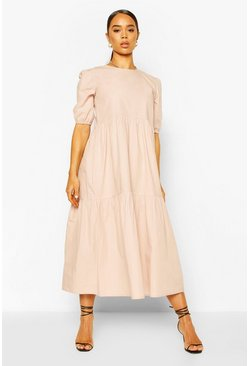 Sand Cotton Tiered Midi Smock Dress