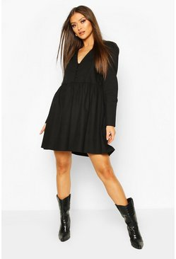 Black Button Detail Cotton Smock Dress
