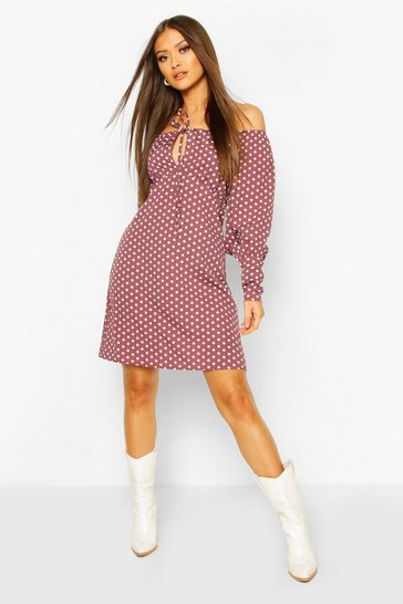 Mauve Polka Dot Square Neck Puff Sleeve Mini Dess