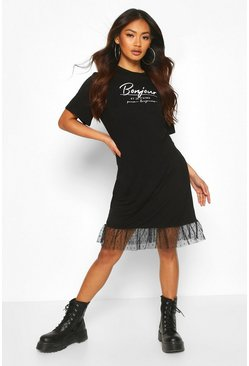 Slogan Drop Hem Dobby T-Shirt Dress, Black
