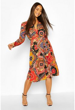 Chain Print Belted Midi Shirt Dress, Black