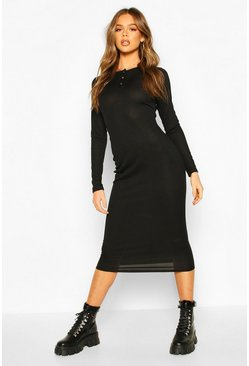 Black Rib Popper Detail Long Sleeve Midaxi Dress