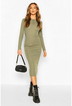 Womens Khaki Rib Popper Detail Long Sleeve Midaxi Dress