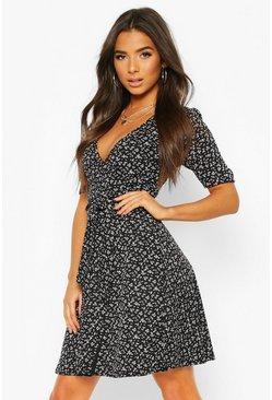 Black Rib Floral Print Belted Skater Dress