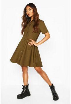 Cotton Short Sleeve Skater Shirt Dress, Khaki, DAMEN