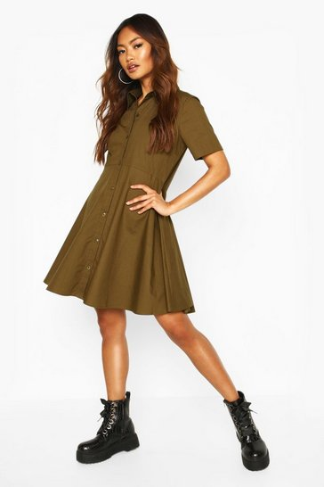 Womens Khaki Cotton Short Sleeve Skater Shirt Dress