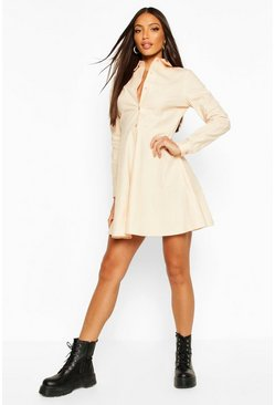 Stone Button Through Shirt Skater Dress