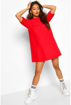 Red Cotton High Neck Puff Sleeve Shift Dress